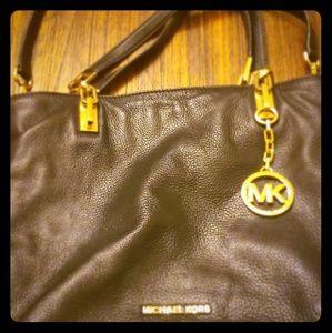Black Leather Big MK Purse - Authentic